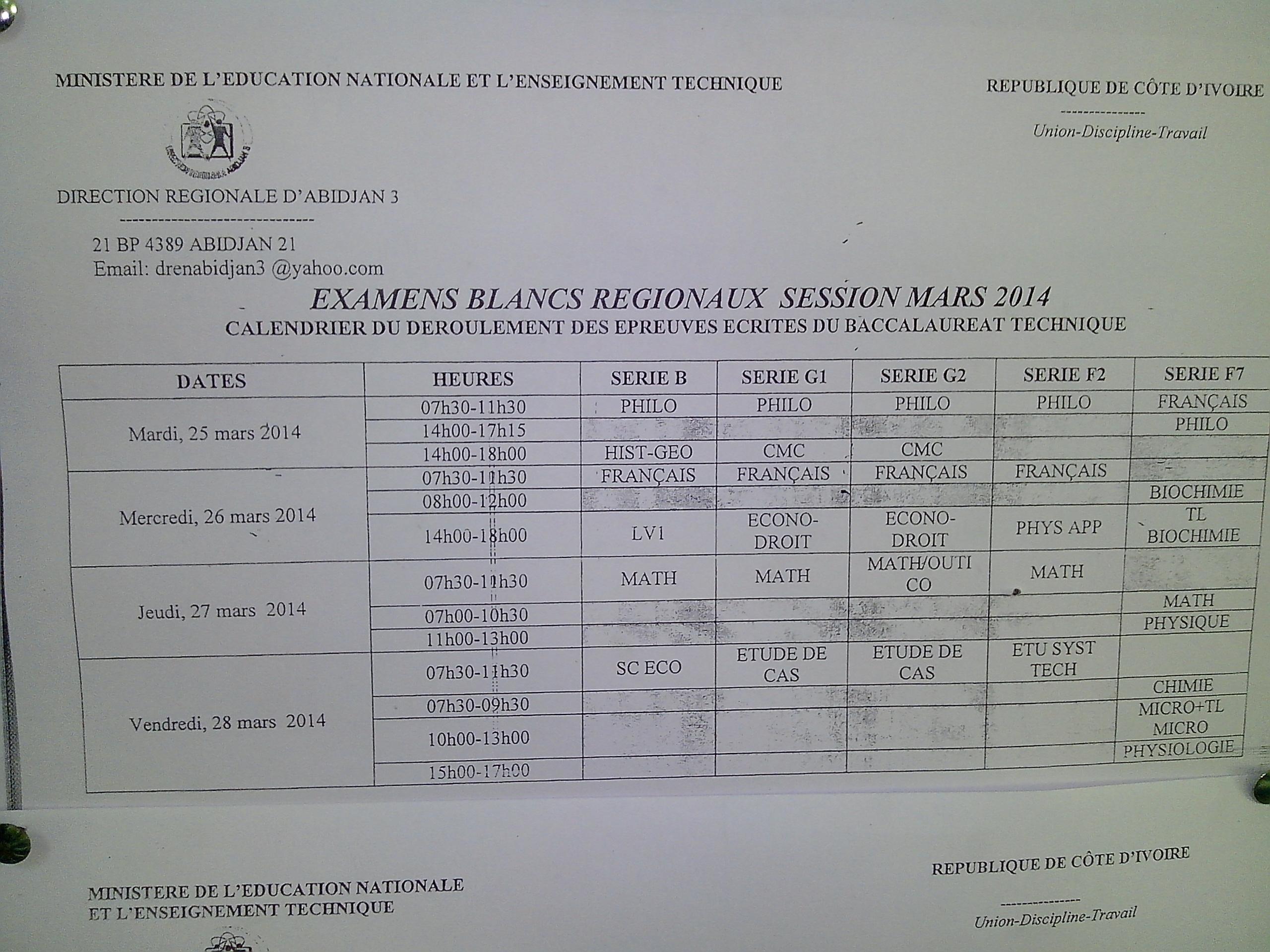 Calendrier des Examens